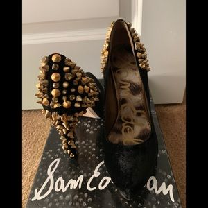 Sam Edelman - Black Heel w/ Gold Gems & Spikes